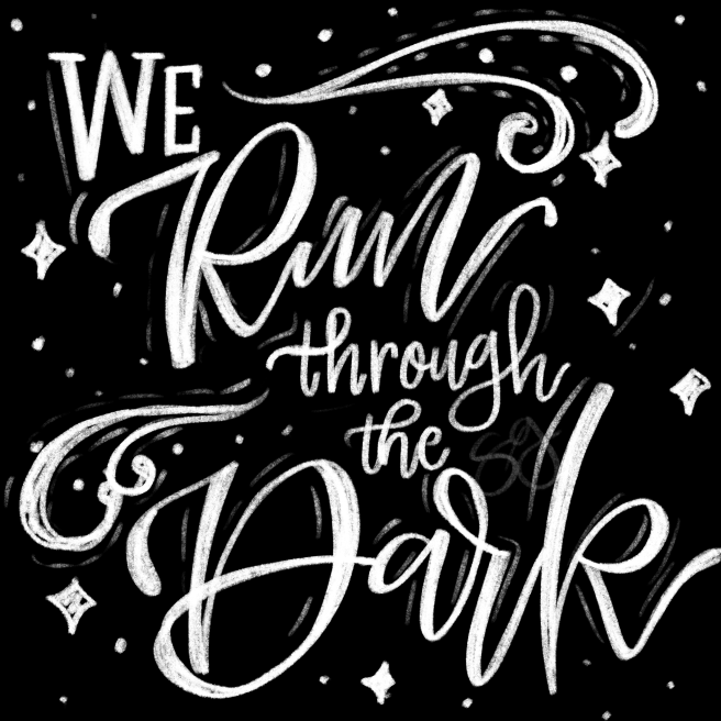 we run through the dark digital chalkboard art by swapna gardner nerdladydraws